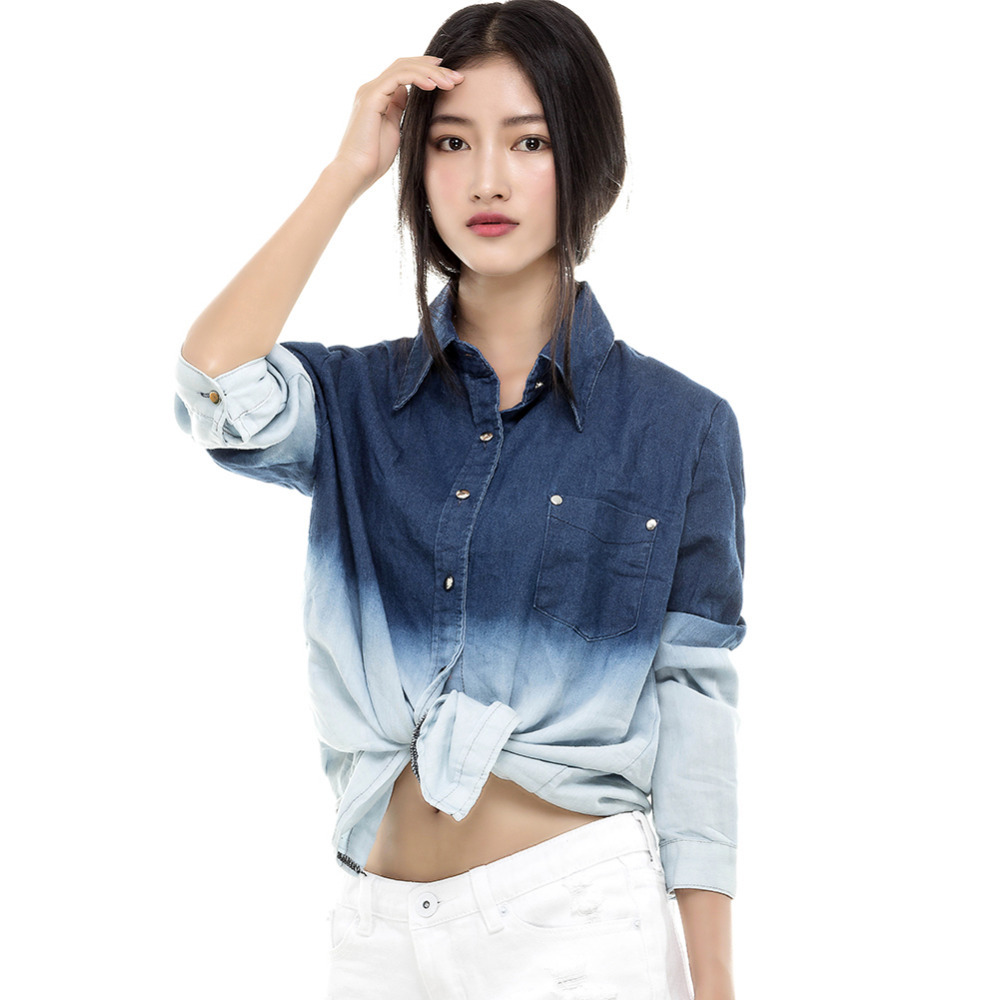 2014 Spring Blouses u0026 Shirts Female Long Sleeve Cotton Jeans Blouse Women Casual Loose Tops ...