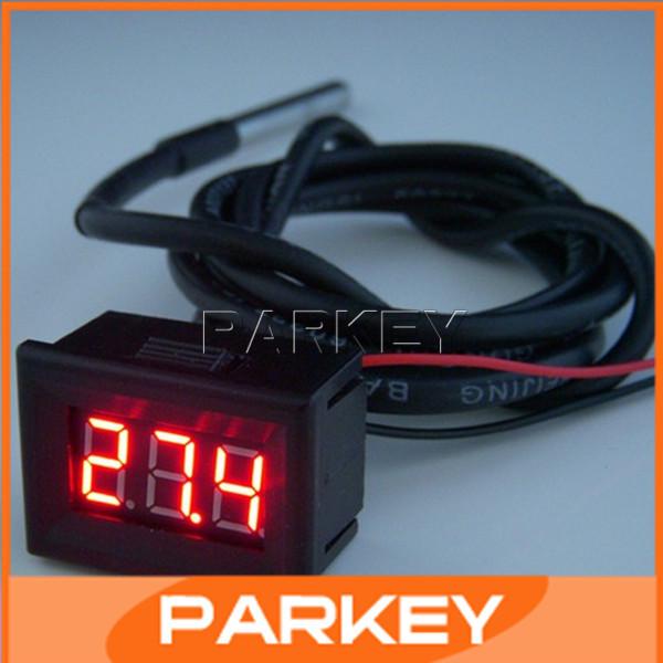 "5 PCS/LOT 0.36"" Red LED Mini Digital Thermometers Waterproof DS18B20 Sensor -55 Degree to +125 Degree Sensor Thermometer #MD0700(China (Mainland))"