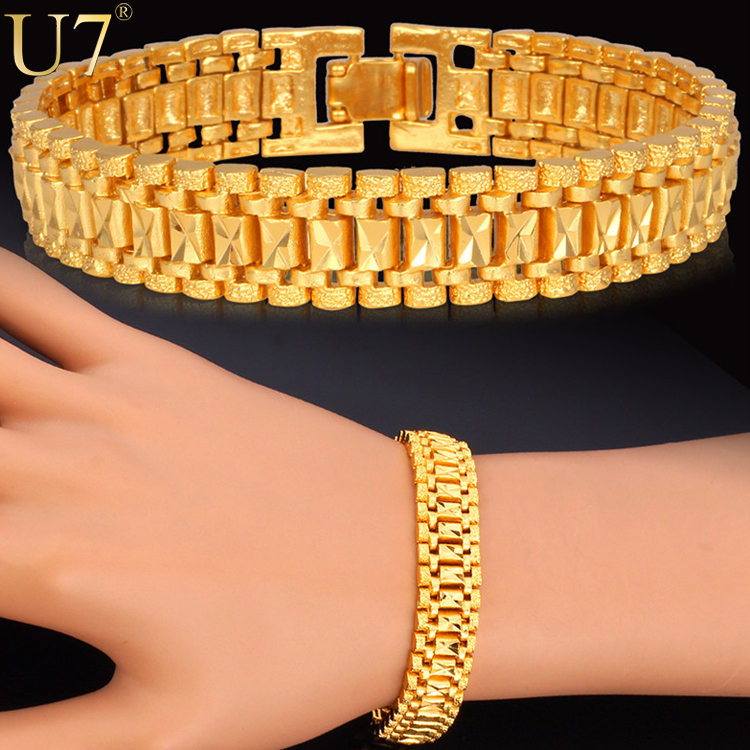 18K Real Gold/Platinum Plated Bracelet Cool Rock Style New 19 cm 12 MM Thick Chain Link Bracelet Men Jewelry Wholesale U7 H550(China (Mainland))