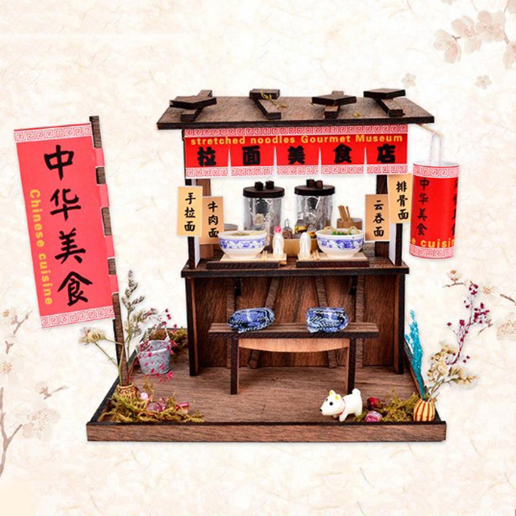 DIY Handcraft Miniature Project Wooden Dolls House Antique Handpulled Noodles Shop with LED Lights Furniture Home Decor