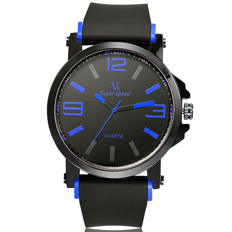 watch men in black promotion shop for promotional watch men sport quartz watch men luxury brand super speed v6 dial silicone strap analog round military black white color relogio masculino