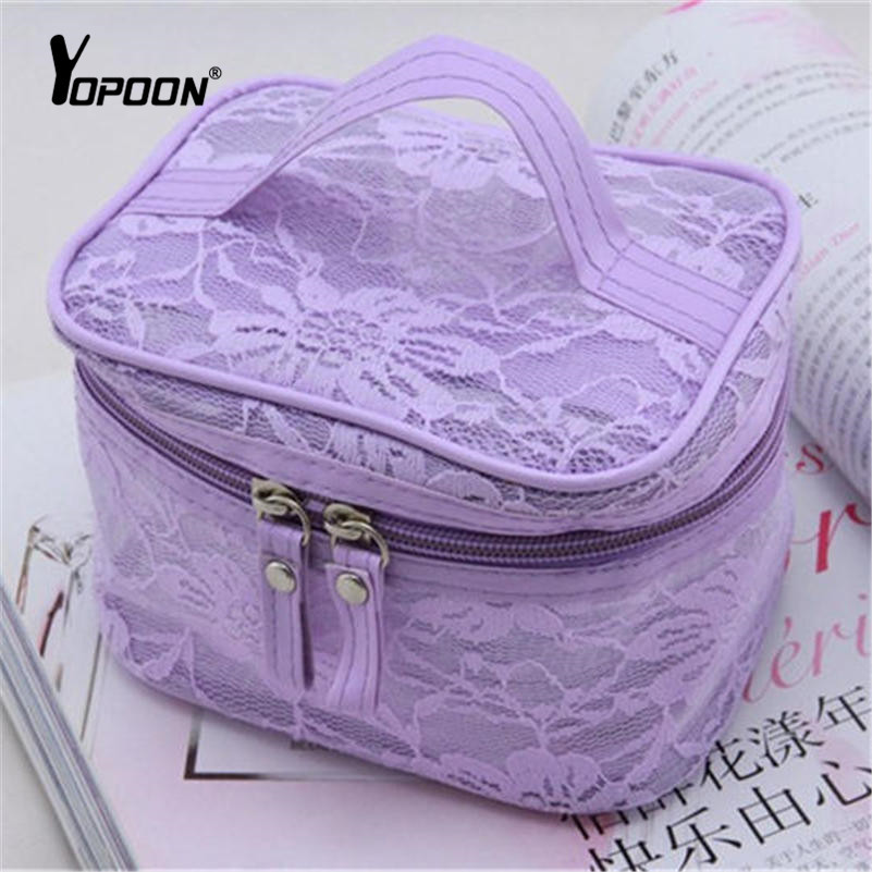Brand Women Makeup Case Lace Transparent Cosmetic Bags Handbag Storage Travel Train Cases Washing Bags Professional Makeup Pouch(China (Mainland))