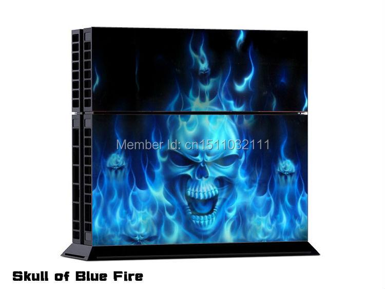 Skull of Blue Fire Skin Sticker for PS4 Wireless Controller 15PCS/LOT<br><br>Aliexpress