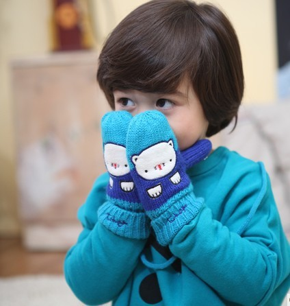 Tutuya baby yarn gloves child gloves autumn and winter male halter-neck bear gloves(China (Mainland))