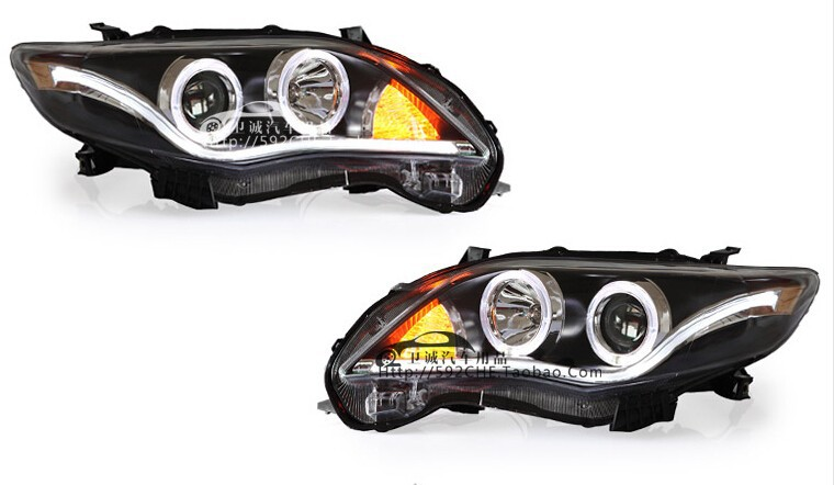 Auto Clud 2011-2013 For toyota corolla headlights Angel Eyes LED light guide DRL For corolla head lamps bi xenon lens car stylin