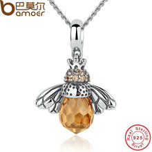 BAMOER 925 Sterling Silver Lovely Orange Bee Animal Pendants Necklace for Women Fine Jewelry CC035(China (Mainland))