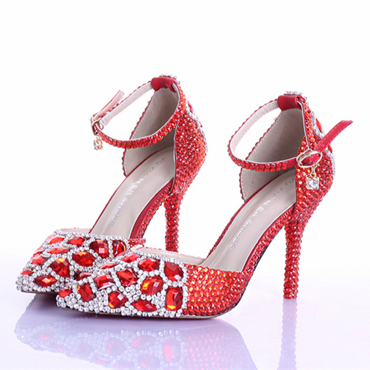 Фотография New handmade fashion wedding shoes for lady pointed toe red crystal chain party dresses shoes rhinestone prom high heels pumps