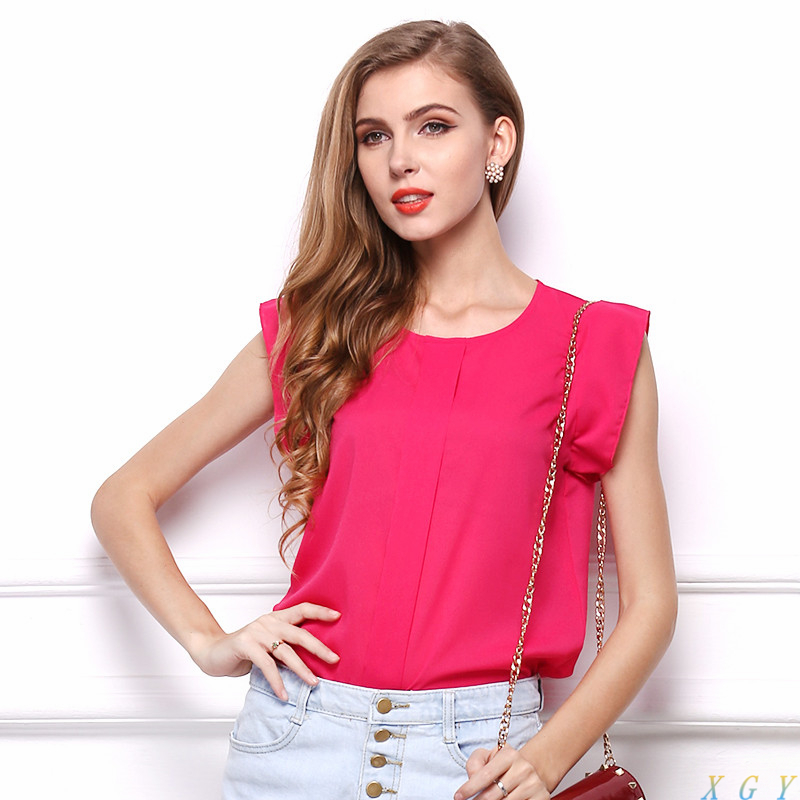 Womens Blouses Chiffon Clothing Summer Lady Blouse/Shirt S-XL Sale New Fashion Ruffle Short Sleeve 4 Colors Tops OL Blouse - CC store
