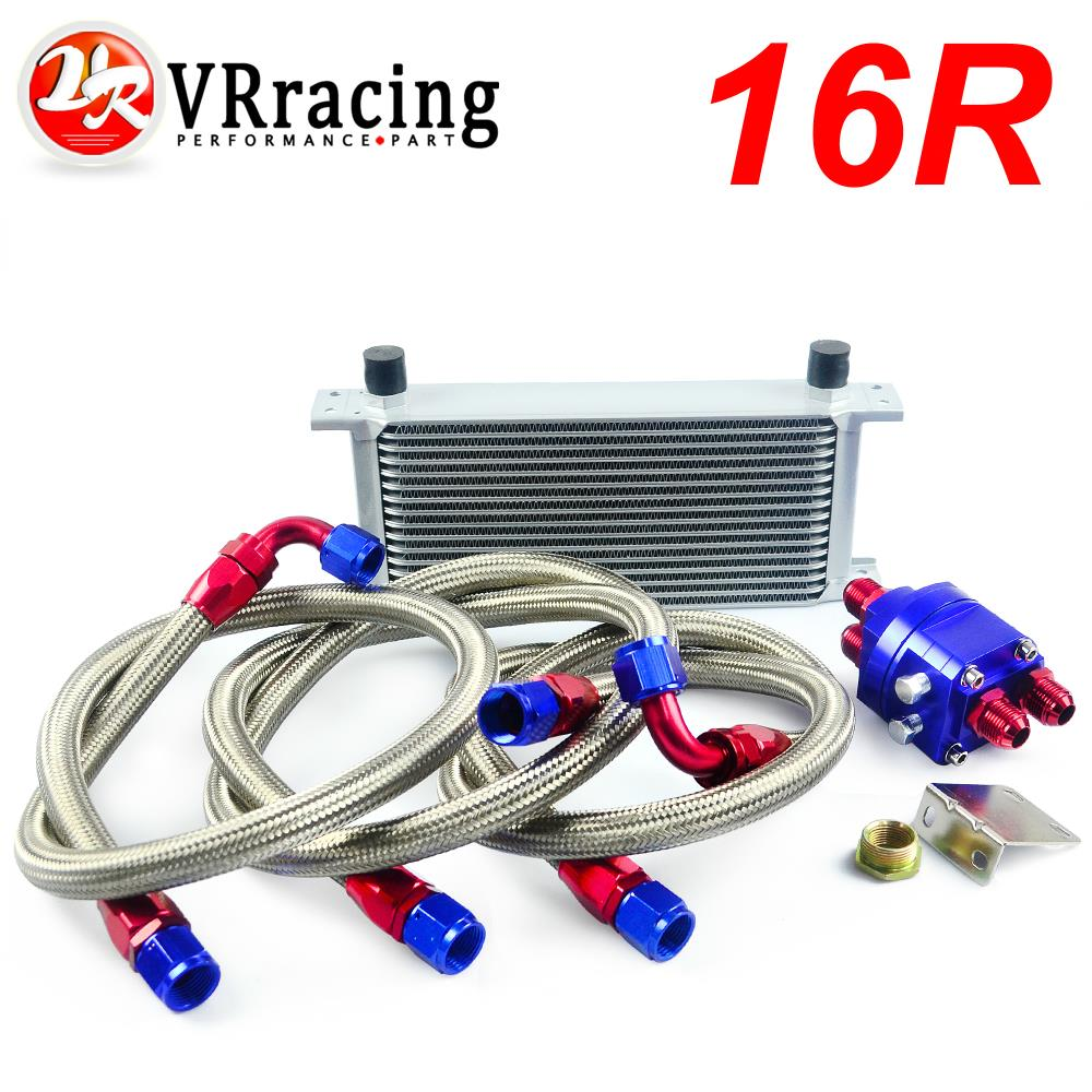 VR RACING-UNIVERSAL 16 ROW AN10 ENGINE TRANSMISS OIL COOLER KIT +FILTER RELOCATION BLUE VR7016S+6724BR+3PCS