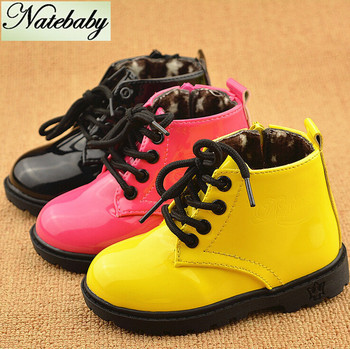 2016 Winter new design high grade children martin boots solid color patent leather baby shoes NG0525