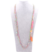 Newest Multi-Layers Maxi Necklaces Feather Stylish 2016 Long Chain Necklace Handmade Beads Chain Women Bohemian Necklace 1510-5(China (Mainland))