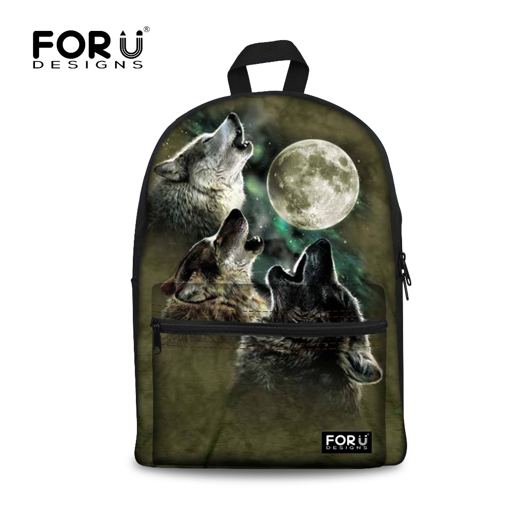 Novelty backpack women for teenage boys school backpack male& feminine mochila,wolf printing children fashion backpacks bags(China (Mainland))