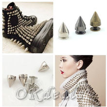 100 Pcs 9.5mm 3 colors Metal Bullet Stud Rivet Spikes Leathercraft Accessories Silver(China (Mainland))
