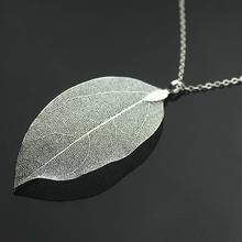 2016 design statement Natural Real Leaf necklace handmade silver plated leaf necklaces for woman jewelry wholesale
