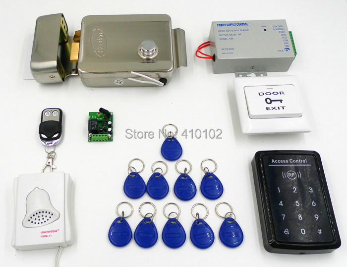 Safety Electric Door Lock+Metal Remote Control +125khz RFID Card Touch Button Keypad Door Access Control Kit(China (Mainland))