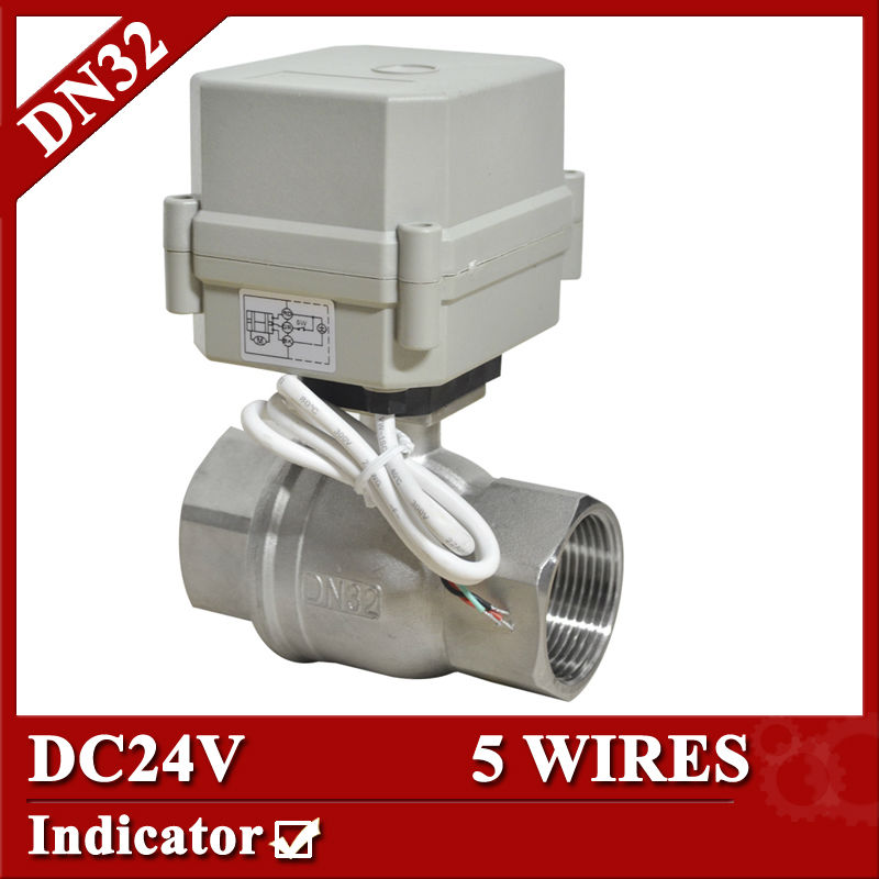 "Фотография 1 1/4"" DC24V Stainless steel 304 electric valve, DN32 motorized valve 5 wires, electric ball valve with signal feedback"