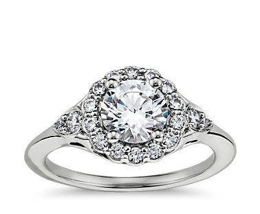 Здесь можно купить  3 Carat White Gold Diamond Ring Frola Halo Engagement Ring ASCD Lab Grown Diamond 9K Solid Gold Diamond Engagement Rings  Ювелирные изделия и часы