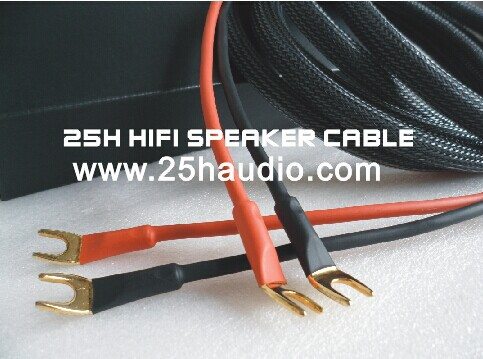 Speaker Cable,hifi speaker cable,24K gold plated spade plug,OFC,DZ-3512 - DIN ZHI AUDIO EQUIPMENT FACTORY store