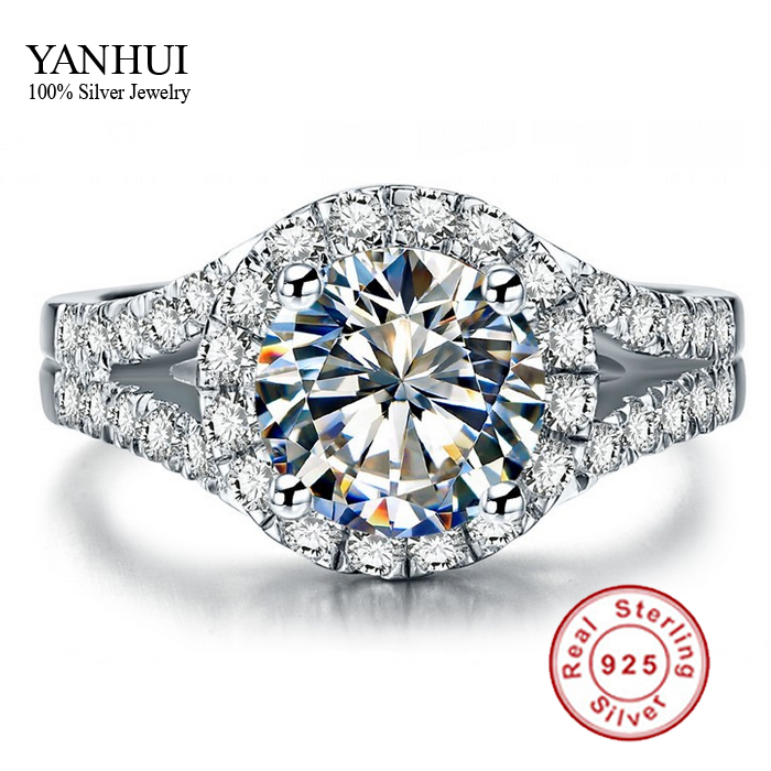 Yanhui real 925 sterling silver ring with s925 stamp 3 for Diamond stamp on jewelry