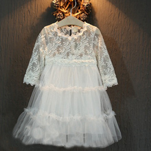 wholesale (5pcs/lot)- 2016 Korean fashion Fairy spring white  lace flower  Princess Dress for child girl(China (Mainland))