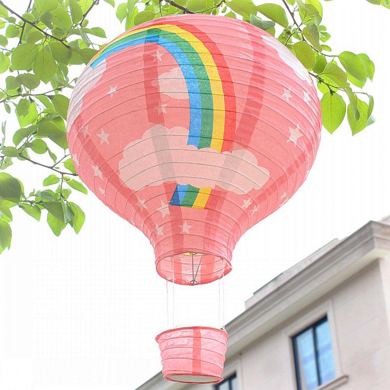 Wholesale 50pcs/lot Hot Air Balloon Lanterns Chinese Paper Lanterns 30cm Rainbow Shape Birthday Wedding Party Decoration(China (Mainland))