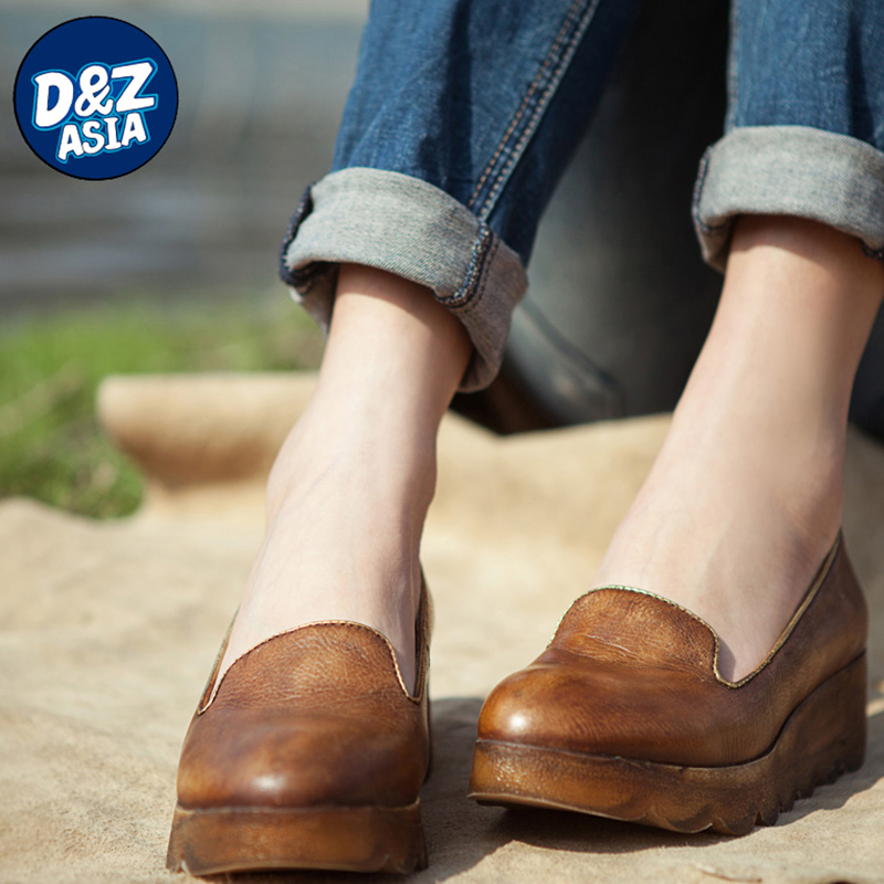 Original Spring slope with a single shoe leather, leather retro shoes, shallow mouth slope with a single shoe<br><br>Aliexpress