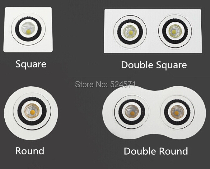 Wholesale Square/Round/Single/Double COB 15W/20W/ Led Ceiling Down light Recessed Led Downlight 360 degree rotation AC85-260V<br><br>Aliexpress