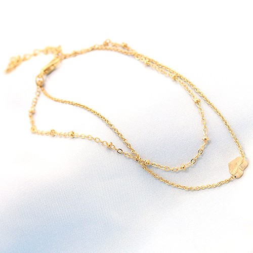 Women's Love Heart Shape Ankle Bracelet Double Layers Chain Sexy Foot Anklet