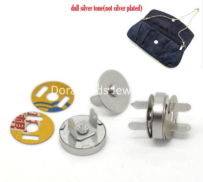 "Free Shipping! 20 Sets Silver Tone Magnetic Purse Snap Clasps/ Closure for Purse Handbag 14mm(4/8"") Dia. (B20766)(China (Mainland))"
