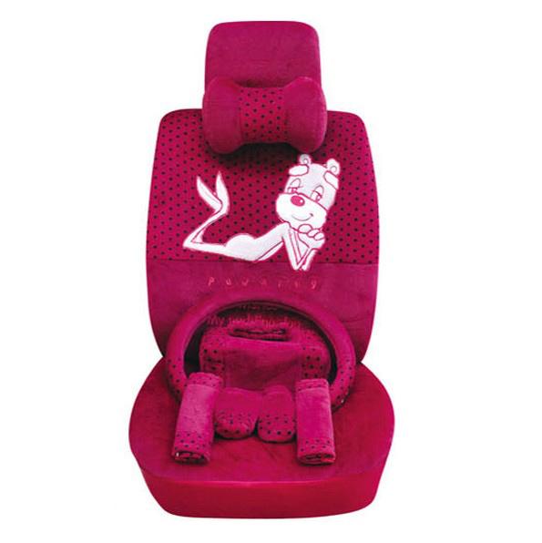 OULILAI Pudding dog Auto Car Front Rear Seat Covers Plush Universal 19pcs - Rose(China (Mainland))