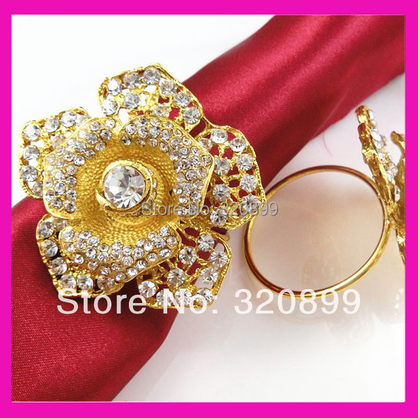 Wholesale 100pcs gold rose rhinestone napkin ring for  : Wholesale 100pcs gold rose rhinestone napkin ring for table decoration from www.aliexpress.com size 600 x 600 jpeg 126kB
