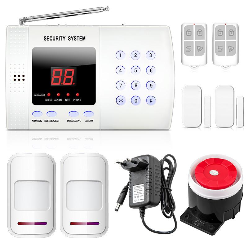 Digital display telephone line voice alarm auto dial wireless burglar alarm system PSTN security home alarm system free shipping(China (Mainland))