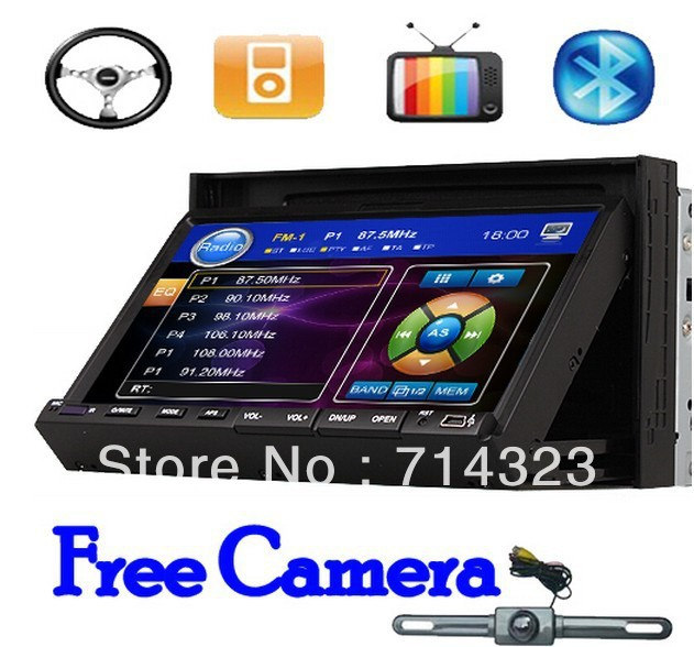 "Free Back Up Camera Universal ISO 2 Din 7"" Touch Screen In Dash Car Stereo DVD CD Player RDS Radio usb sd Steering Wheel Control(China (Mainland))"