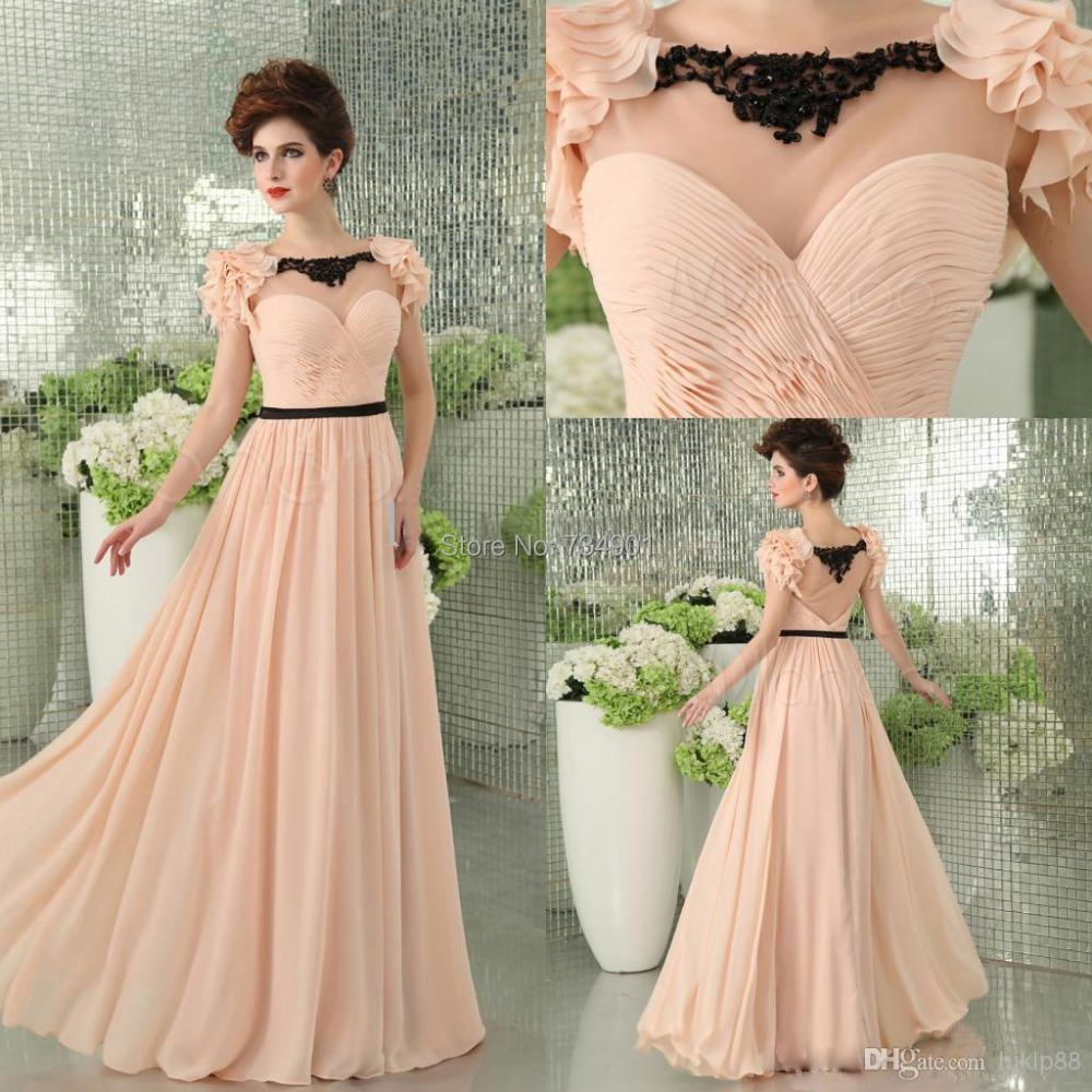 Custom made!2015 Elegance Chiffon A-Line Floor-Length Tank Natural Appliques Short Scoop Evening dresses - DENIA'S BRIDAL store