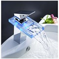 Free Shipping Wholesale And Retail Polished Chrome LED Waterfall Spout Bathroom Basin Faucet Modern Square Sink