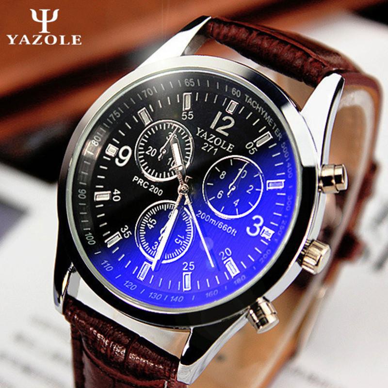 YAZOLE 271 Fashion Luxury Brand Watches Men PU Leather Band Live Waterproof Quartz Watch Cheap Sports Wristwatch 2016 New(China (Mainland))