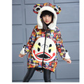 2016 Winter Girls Coats Cotton Cartoon Jackets Hooded Collar Children Baby Clothes Thick Outdoor Parka Clothing