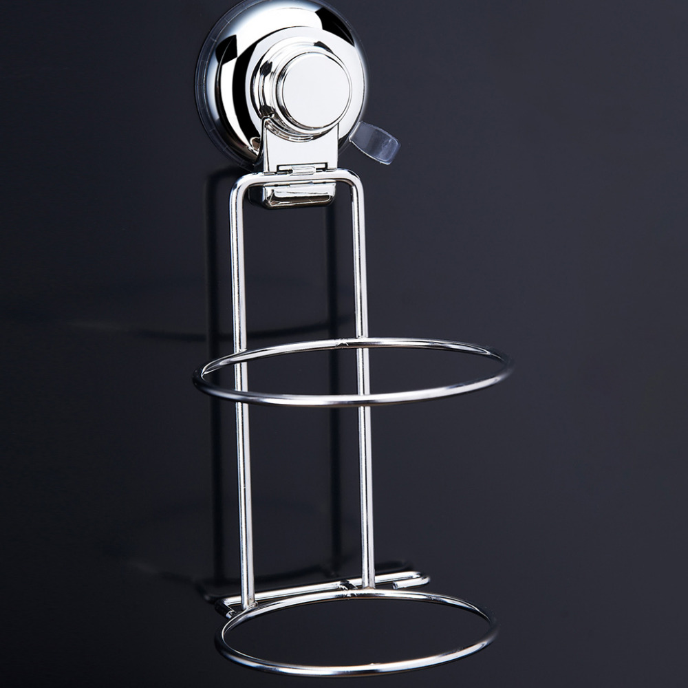 Floureon Hair Dryer Rack Suction Cup Hook Holder Stainless Steel Wall-Mount Wire Rack Shelf Bathroom Accessories Set Adjustable(China (Mainland))