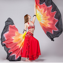Half Circle 100% Silk Stage Performance Props 1 Pair Silk Veil Dance Gradient Color with Wooden Sticks Belly Dance Veils Wings