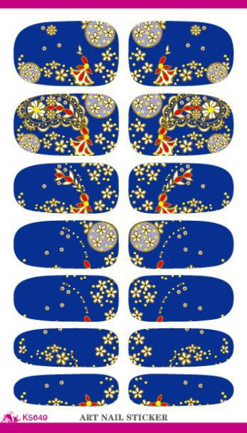 Europe Full Cover Water Transfer Foil Nails Art Sticker Flowers Decor Blue 3d Manicure Sticker Minx Nail Wraps Decals K5649(China (Mainland))