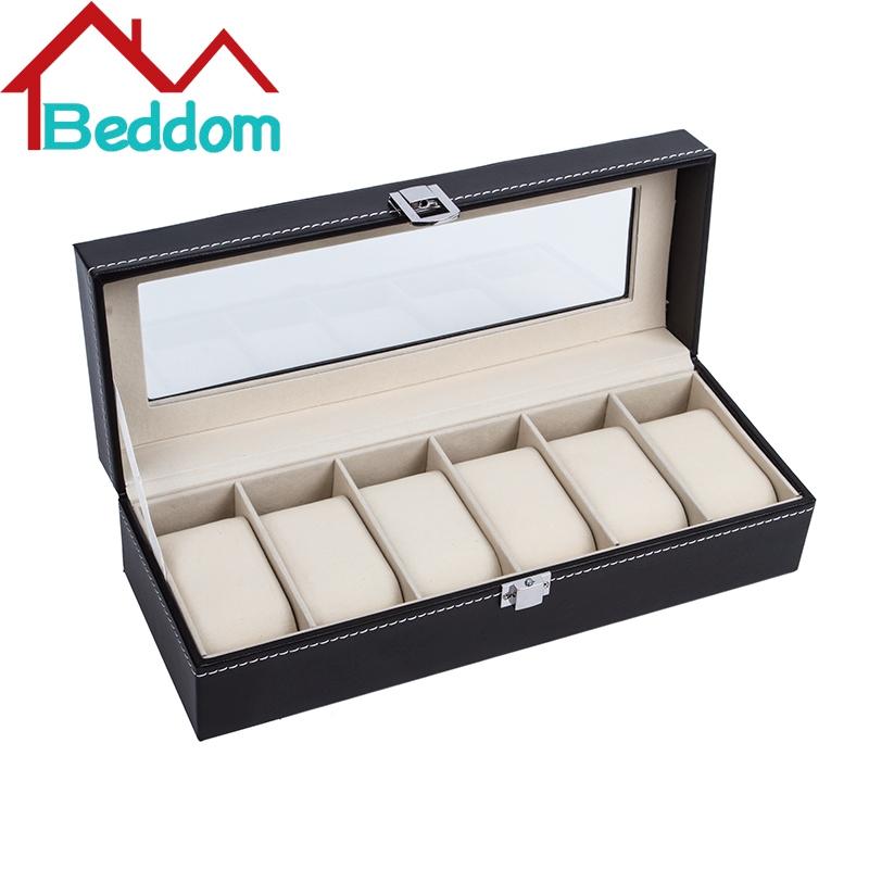 Beddom Black 6 Slot Watch Box Jewelry Display Storage Case Box Black PU Leather Watches Display Organizer Watch Box Cases(China (Mainland))