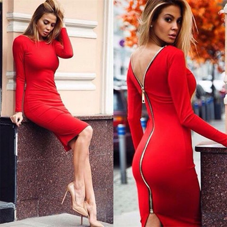 Red Open Back Long Sleeve Maxi