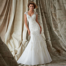 2016 High Quality V-neck Best Price Dress Sexy Pearls Sequins Discounted Beaded Wedding Dresses Lace Mermaid Bridal Gown(China (Mainland))