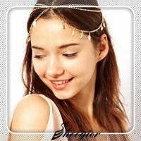 Sheegior Stunning Gold Triple Leaf Crystal Chain Hair Cuff women Headband Head Dress Wrap Hair Jewelry Free shipping !