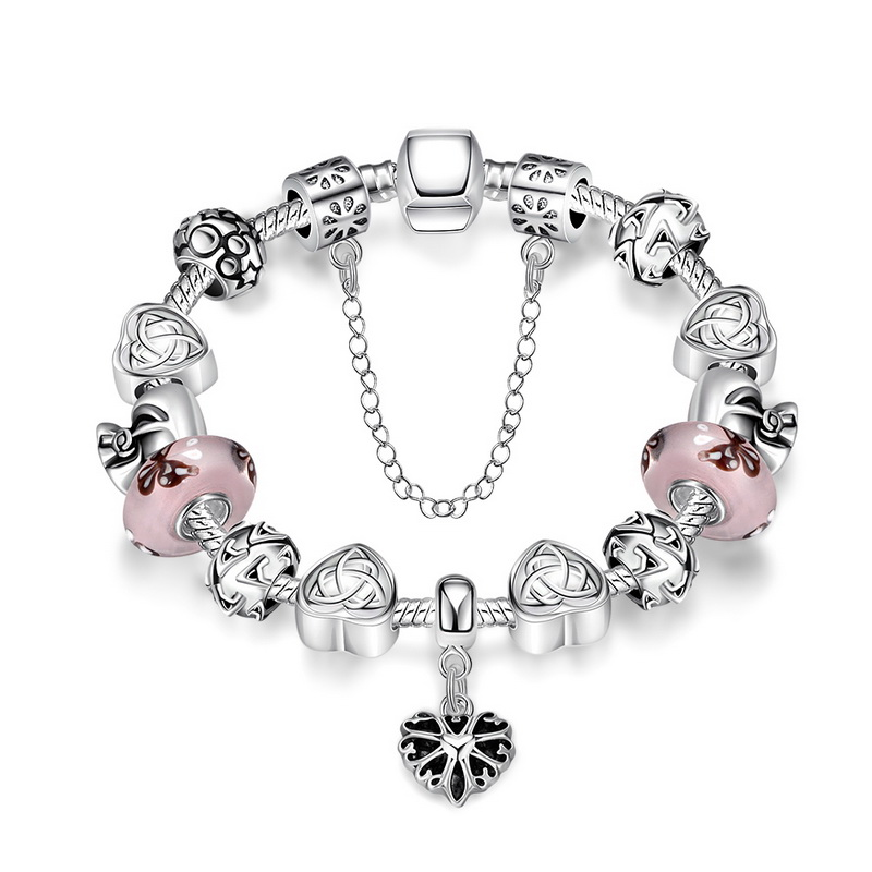 Silver Charm Bracelet with Heart Pendant & Murano Glass Beads Popular in Russia & Brazil bracelet for women jewelry(China (Mainland))