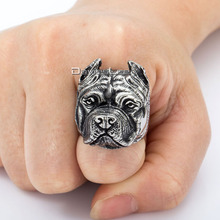 Unique Gift Mens Ring  Boys Punk Pitbull Bulldog Animal Silver Tone 316L Stainless Steel Ring Wholesale Jewelry DLHR106(China (Mainland))