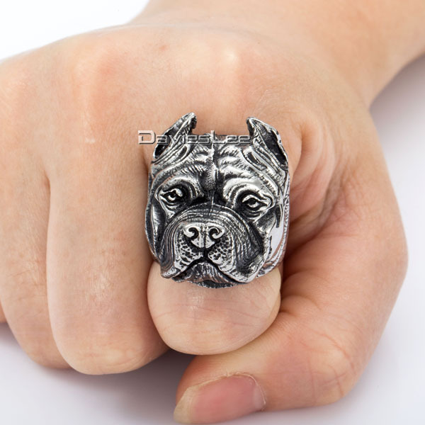 Unique Gift Mens Ring Boys Punk Pitbull Bulldog Animal Silver Tone 316L Stainless Steel Ring Wholesale