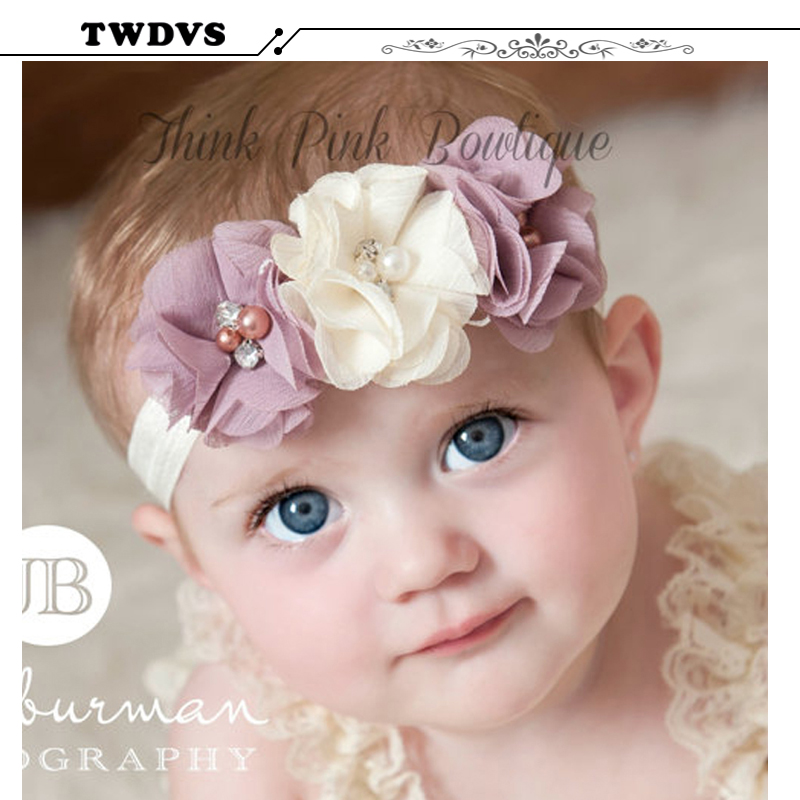 TWDVS Rhinestone Ribbon Pearl diamond Headwear Newborn Hairbands sewing Flowers Headband Kids Hair Accessories Jeaely W045(China (Mainland))