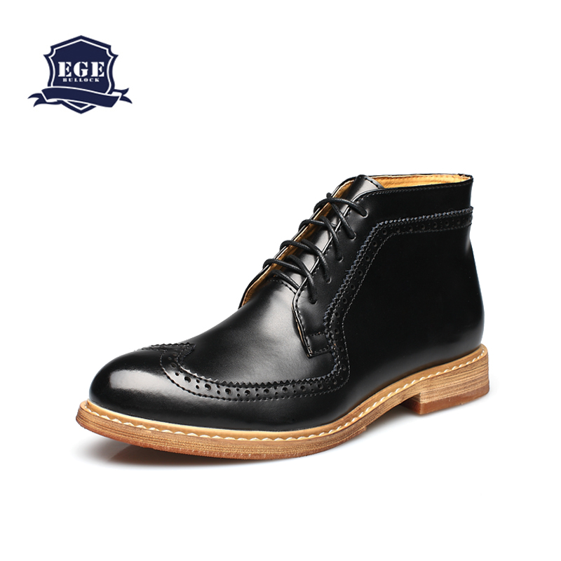 Boots Ankle 100% Genuine Leather Cow Muscle No-slip Sole Men Shoes,Handmade Fashion Bullock British style Autumn Boots for Men(China (Mainland))