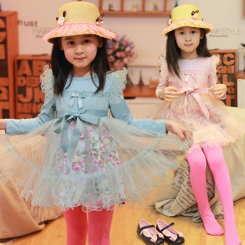 Free shipping Hot-selling spring girl dress long-sleeved dress high-end spring light sanding Floral flounced(China (Mainland))